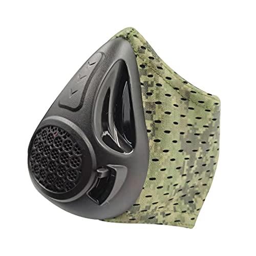 Haowen Máscara de Entrenamiento de altitud Cardio Breathing Entrenador de Fuerza respiratoria 24 Niveles Camuflaje Verde 15,5 * 13,5 * 9,5 cm