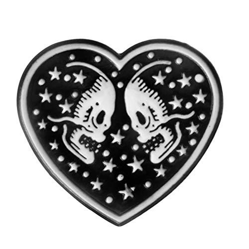 TENDYCOCO Punk Forma de Corazón Broche de Esqueleto Negro Doble Cráneo Estrella Cielo Amor Esmalte Pin Chaqueta de Cuero Insignia Pareja Joyería Amigos Regalos