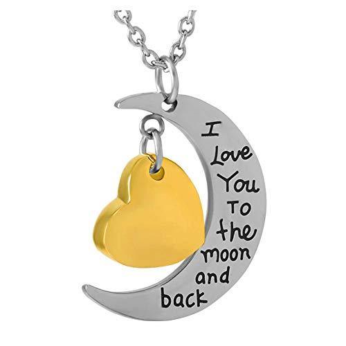 Wxcvz Collar para Cenizas Amo hasta La Luna Y La Espalda con Grabado Personalizado En Blanco Collar De Cremación con Dije De Urna De Corazón Pequeño De Oro En Blanco