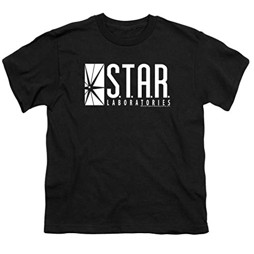 Youth Flash Superhero Star Labs T Shirt for Boys & Stickers (X-Large) Black