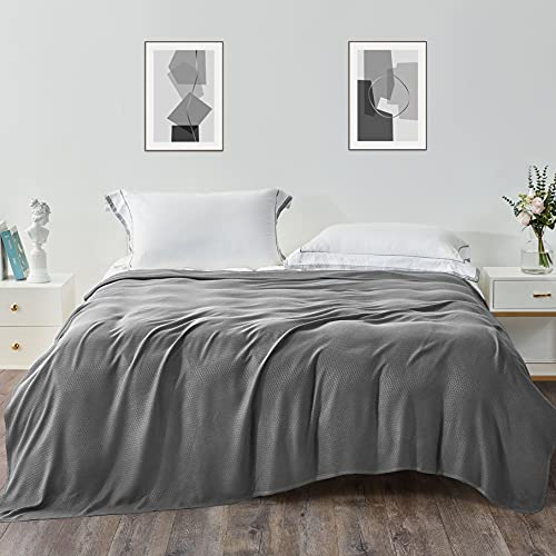Kpblis Cooling Blankets, Cooling Summer Blanket for Hot Sleepers, Cool Blanket for Summer, Lightweight Blanket Queen Size, Bamboo Thin Blanket for Bed (79x91 inches, Dark Grey)