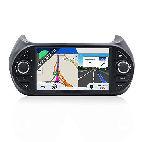 Estéreo de Coche Android 10.0 Apto para Fiat Fiorino/Qubo/Citroen Nemo/Peugeot Bipper -7 Pulgadas 2G / 32G - - Unidad Principal de 1 DIN |Cámara Trasera y Canbus Gratis |Soporte GPS/Dab + /