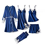 WZHZJ Satin Pijamas Traje de encaje de las mujeres 5PCS Ropa de dormir Pijamas sexy Inicio Use suelto Casual Sleep Set Soft Rayon Nightwear (Color : Blue)