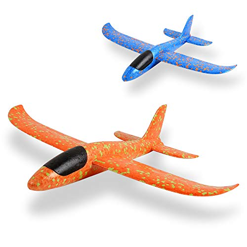 BeebeeRun EPP Foam Airplane 2 Pcs,Outdoor Game Flying Toys for 3 4 5 6 7+ Year Old Boys Girls, Christmas Toys Gifts Present for Kids