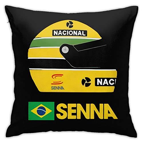 "ETU Pillowcase Ayrton Senna Formula 1 Helmet Home Decorations Coloring Craft Kit Pillow Cover Square 18"" X 18""Inch"