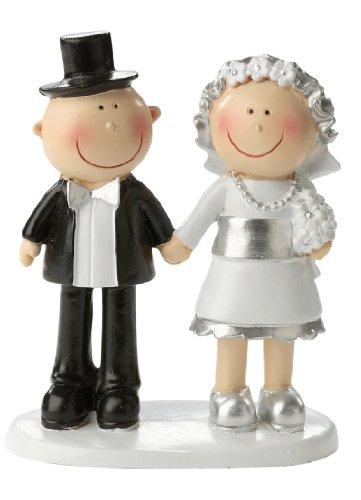 Décoration de gâteau de mariage argentée - Couple d'argent