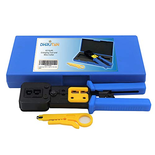 Ez Rj45 Crimpzange für Cat 5 / Cat 6, Ez Pass-Through-Anschlüsse für Ethernet-Kabel, Ratsche, Ethernet-Kabel Ez Rj45 Crimping Tool + Wire Cutter