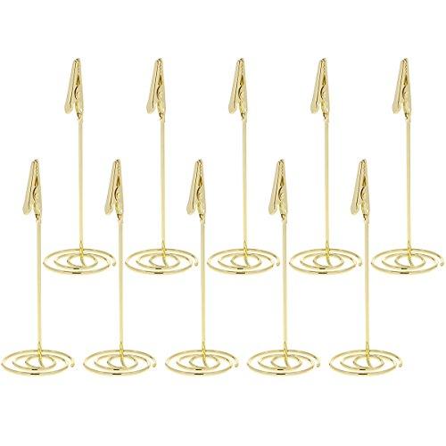 YeahiBaby 10 stücke Tischnummer Clip Halter Hochzeit Papier Menü Clips Ort Name Karte Steht (Gold)