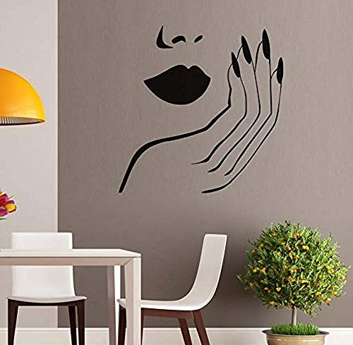 xcdfr Wall Stickers Girl Face with Hand Manicure Nail Lips Wall Decals Beauty Salon Wall Stickers Vinyl Interior Home Decor Art Mural Sticker59X61Cm