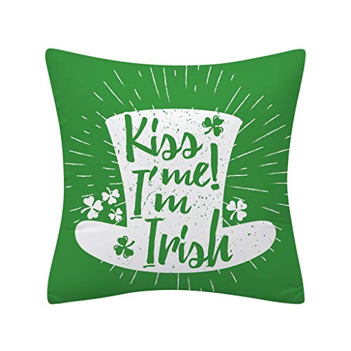 St. Patrick's Day Print Pillow Case Cotton Linen Sofa Home Decor Cushion Cover, Pillow Case, Products for Christmas (F)