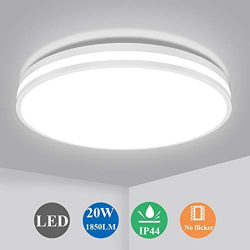 Öuesen Deckenlampe 20W, LED Deckenleuchte Bad 4000K Naturweiß Lampe, 1850LM Rund Leuchten für Badezimmer Wohnzimmer Korridor Küche Balkon, Wasserfest IP44