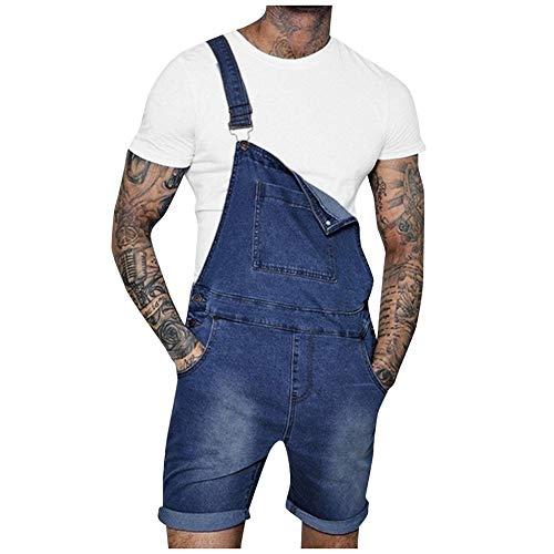 Peto Vaquero Hombre Corto Verano Pantalones Vaqueros de Mono pantalón de Tirantes Simple Pantalones de Mezclilla Casual Jeans de Trabajo Azul Oscuro 117