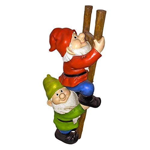 Design Toscano Up the Ladder Climbing Gnomes Funny Gnome Garden Statue, 11 Inch, Polyresin, Full Color
