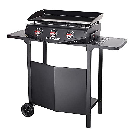 FAVEX - Plancha Saragosse sur Chariot 3 Feux Cooking Box - Surface de cuisson 65,7 x 34 cm - 3 brûleurs ronds Inox - Plaque acier émaillé - Récupérateur de graisses - Jusqu'à 8 convives - 7,5 kW