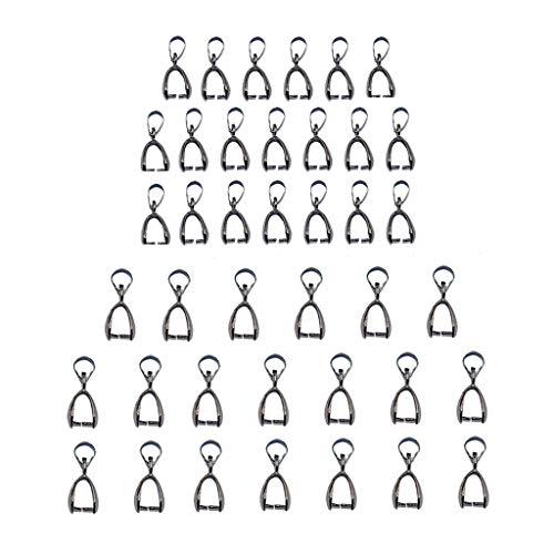 kowaku 40 Piezas de Joyería de Bricolaje Hallazgos Metálicos Negro Bail Bale Pinch Broche para Colgantes