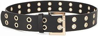 أحزمة جلدية جروميت للنساء والرجال أسود PU حزام مشبك 2 فتحة الشق الشرير