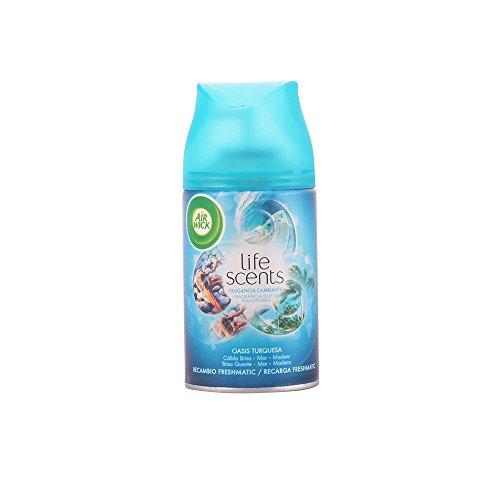 Air Wick Freshmatic - Recambio de Ambientador Spray Automático, Esencia para Casa con Aroma a Oasis Turquesa, 250 Mililitros