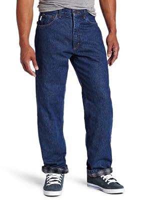 Carhartt Men's Relaxed Fit Straight Leg Flannel Lined Jean, Dark Stone, 34W X 34L
