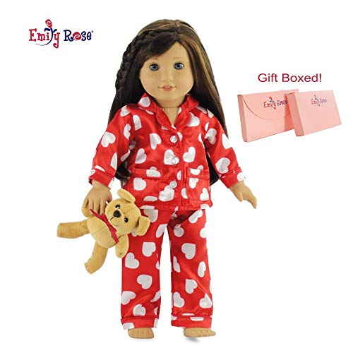 Emily Rose 18 Inch Doll Clothes Silky Pajamas PJs with Teddy Bear - Gift Boxed! | Fits American Girl Dolls