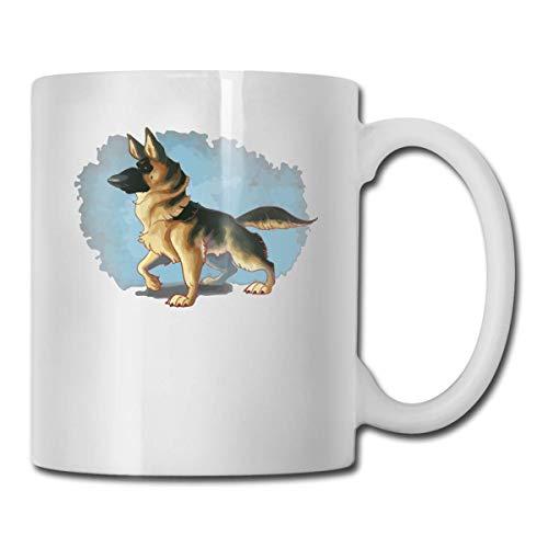 Lustige Kaffeetasse Deutscher Schäferhund Malerei Kaffee Teetasse Einzigartiges Festival Geburtstagsgeschenk für Männer...