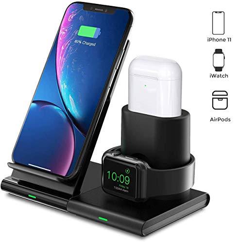 Seneo Kabelloses Ladegrät, 3 in 1 Kabellose Ladestation für iWatch 5/4/3/2 & Airpods, Abnehmbare & Magnetische Ladestation, 7.5W für iPhone 11/Pro Max/XS/XR/X/8 (Kein Adapter & iWatch Ladekabel)