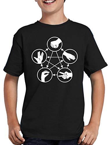 Stein Schere Echse Spock T-Shirt Kinder 152/164 Schwarz