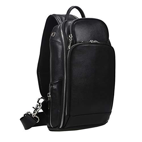 OakHide Mens Genuine Leather Sling Chest Bag Cross Body Shoulder Daypacks For 10.5 Inches iPad