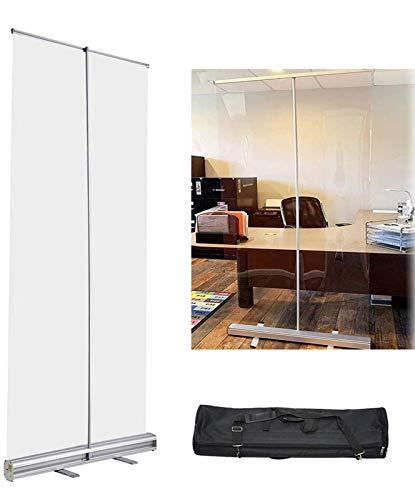 HKAFD Protector antiestornudos retráctil, transparente, protector de estornudos, pantalla de separación, uso para gimnasio, salón, peluquería, barbería (tamaño: 80 x 180 cm)