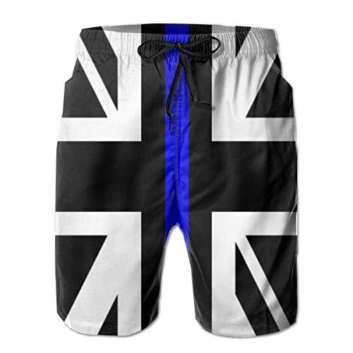 136 Herren Badehose Union Jack Thin Blue Line Flag Schwarz Cool Surfen Beach Board Shorts Gr. L/XL, mehrfarbig