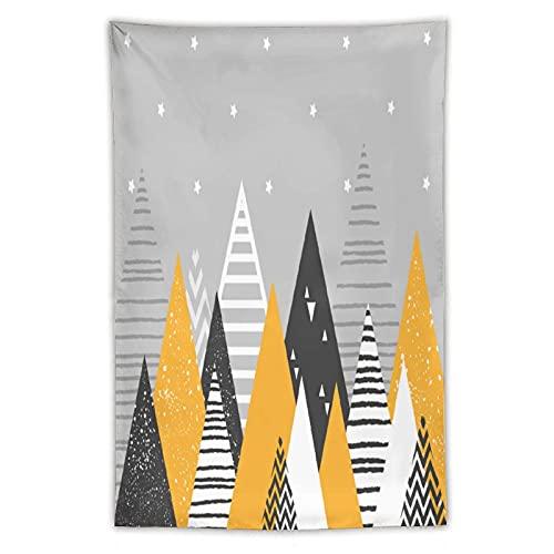Tapiz geométrico de montaña, rayas, amarillo para pared hippie, decoración del hogar, manteles extragrandes, para dormitorio, sala de estar, dormitorio