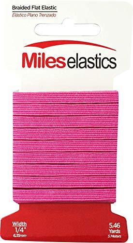 Miles Elastic Braided Flat Elastic, Braided Elastic, Strong Elastic, Elastic Sewing 1/4' (6,35 mm) by 5,46 Yards(5 Meter), Strong Elastic/Machine Washable and Dryable   Oeko-TEX certificated   Fuschia