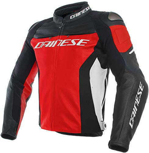 Dainese Lederjacke Racing 3, rot/schwarz/weiß, Größe 56