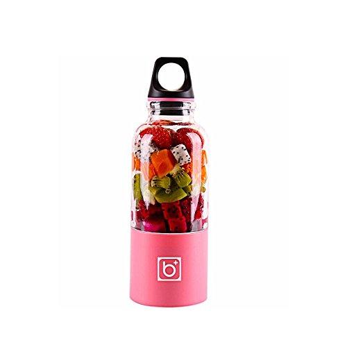 pawaca Fruit Juicer, 500 ML USB di alimentazione Mixer per alimenti per bambini frutta e verdura Portable Wiederaufladbare frullato Maker bottiglia Cup per ufficio viaggi a scuola (Rosa)