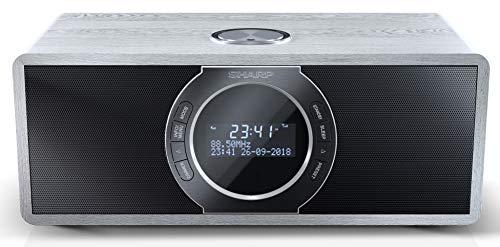 SHARP DR-S460 (GR) Stereo Digitalradio/DAB, DAB+, Bluetooth, FM Radio, Alarm-/Schlaf und Snooze-Funktion, 30 Watt, Holzoptik, Grau
