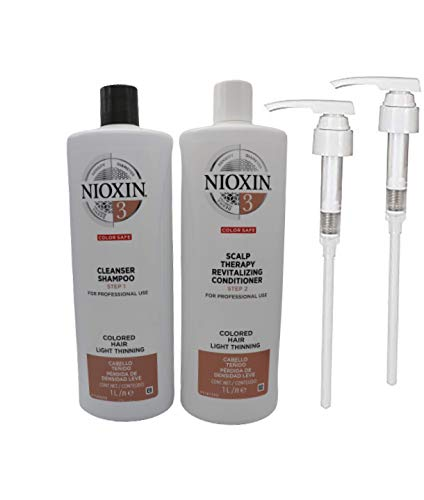Nioxin System 3 Cleanser Shampoo & Scalp Revitaliser Conditioner Duo Litre Pack + Pumps