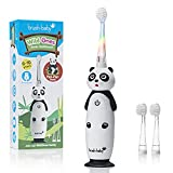 Brush-Baby WildOnes Kids Electric Rechargeable Toothbrush Panda, 1 Handle, 3 Brush Head, USB Charging Cable, for Ages 0-10 (Panda)