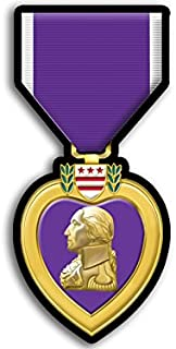 Purple Heart Medal Shaped Sticker (Defense Merit Honor Ribbon Vet Veteran)