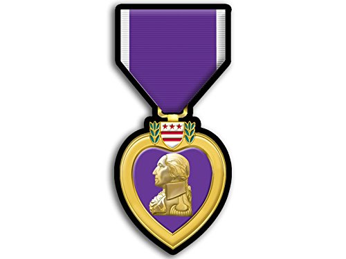 Purple Heart Medal Shaped Sticker (Defense Merit Honor Ribbon Vet Veteran)