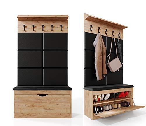 Platan Room Wand-Garderobe Set mit Garderobenpaneel & Schuhschrank & Hängeschrank 100 cm Flurgarderobe Garderobenset Flur Eiche Holz Weiß (Eiche Gold, 3-TLG. mit 6 paneel)
