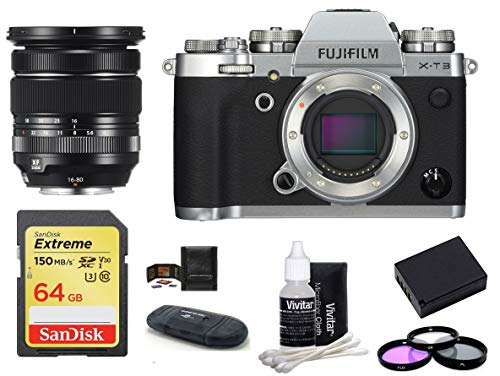 FUJIFILM X-T3 Mirrorless Digital Camera Body with XF 16-80mm f/4 R OIS WR Lens Bundle, Includes: SanDisk 64GB Extreme SDXC Memory Card, Card Reader, Memory Card Wallet + More (8 Items) (Silver)