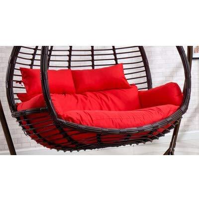 Giow Cuscini per sedie in Altalena in Rattan di Vimini Cuscini a Forma di Nido Cuscino per Cesto Appeso Amaca Seduta a Due posti Lavabile Rimovibile-Rosso 110x150 cm (43x59 Pollici)