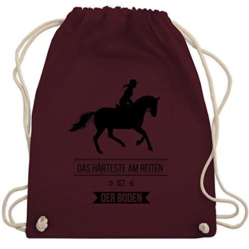 Shirtracer Reitsport - Das Härteste am Reiten ist der Boden - Unisize - Bordeauxrot - rucksack reiten - WM110 - Turnbeutel und Stoffbeutel aus Baumwolle