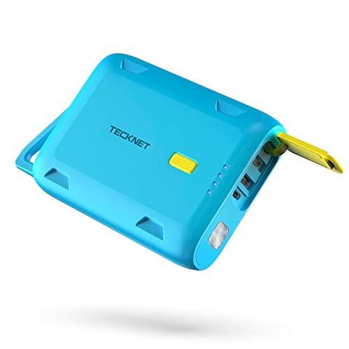 TECKNET Batería Externa 10050 Mah Impermeable Power Bank Cargador Móvil Portátil con 2 Salidas USB y Tipo C, Función de linterna, Compatible con iPhone iPad Dispositivos Android Tablets y Más, Azul