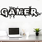 Gaming Gamer Wall Decal for Gamer Fans Men 's Living Room,for Gamer Boys Children Kids Play Room Bedroom Game Room Wall Decor Home Decoration(Large W 45.8' x H 15.6')