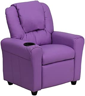 Flash Furniture Contemporary Lavender Vinyl Kids Recliner with Cup Holder and Headrest,