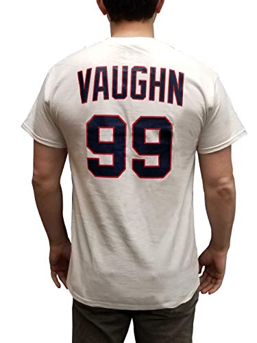 MyPartyShirt Rick Wild Thing Vaughn #99 Jersey T-Shirt-Mens XL White