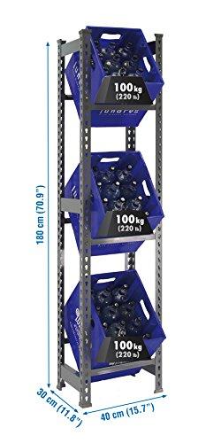 Simonbottle Weinregal aus Metall, ohne Schrauben, 3 Höhen, Grau, 1800 x 400 x 300 mm, Weinregal für Speisekammer, 100 kg Kapazität pro Regal