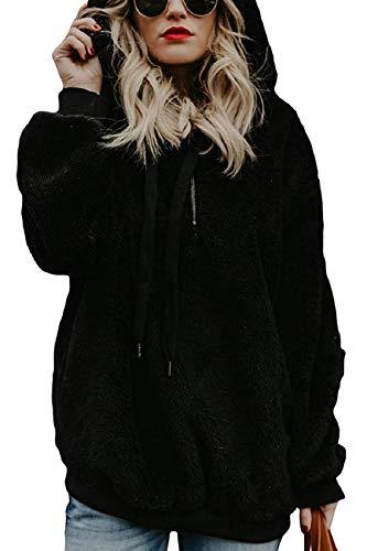 Tuopuda Caliente y Esponjoso para Otoño Invierno Talla Grande Hoodie Mujer Sudadera Caliente y Esponjoso Tops Sudadera Mujer con Capucha Chaqueta Suéter (Negro, XL)