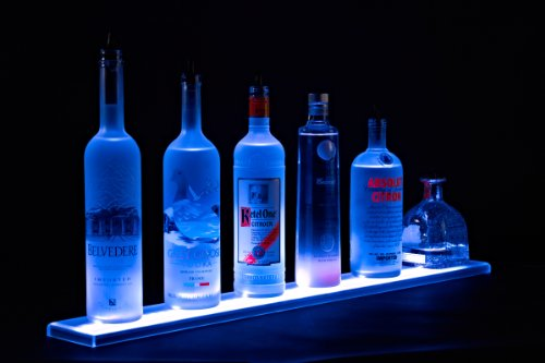 Armana Productions Home Bar Light Shelves - Made in the USA - 2' Long RGB LED Wireless Remote Controlled Illuminated Bottle Shelf - 4.5