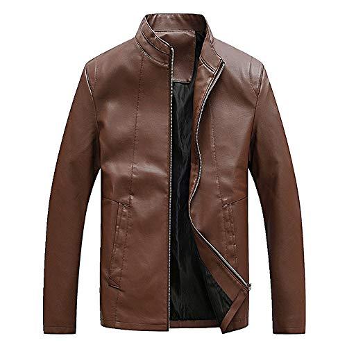 Chaqueta de invierno de los hombres de estilo puro abrigo de cuero clásico de color puro cómodo abrigo de ropa de calle chaqueta de cuero de los hombres abrigo